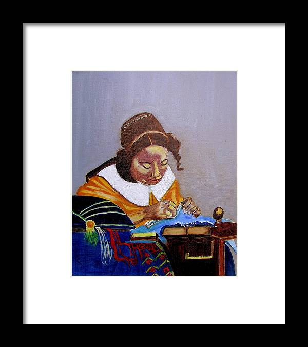 Pastiche Framed Print featuring the painting A Tribute To Vermeer The Lacemaker by Rusty Gladdish