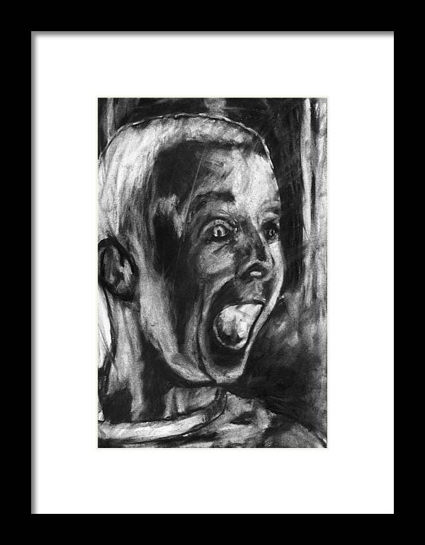 Child Framed Print featuring the drawing A True Believer by John Terwilliger