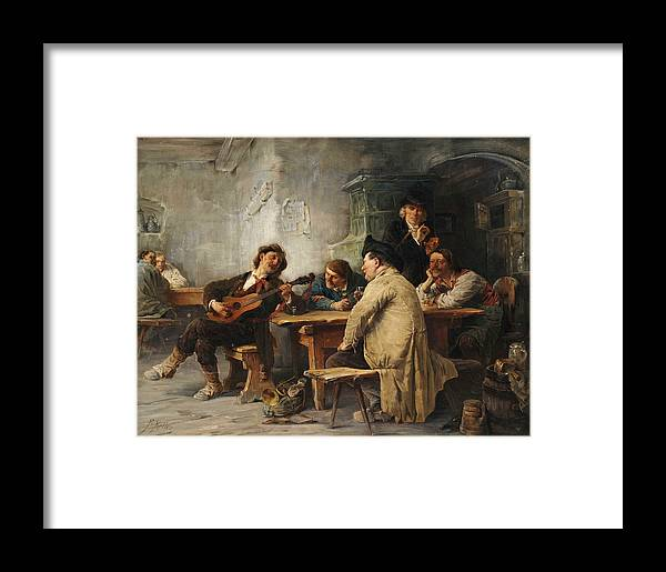 Friedrich Von Keller Framed Print featuring the painting A Vagrant Ministrel In A Tavern by Friedrich von Keller