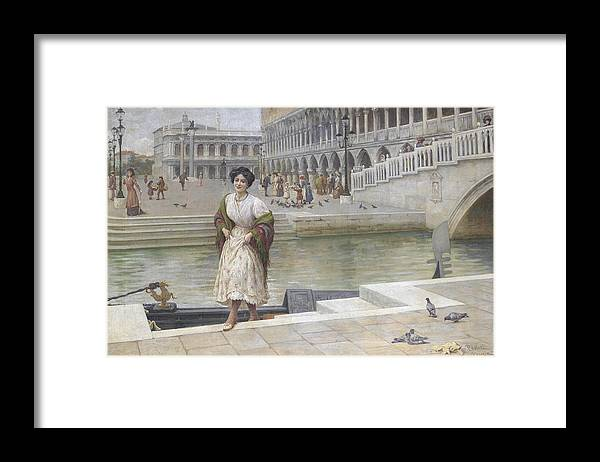 Antonio Ermolao Paoletti A Venetian Beauty Framed Print featuring the painting A Venetian Beauty by MotionAge Designs