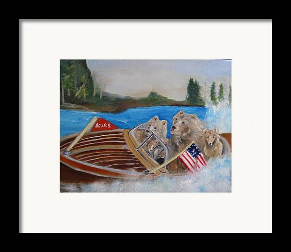 Lake Framed Print featuring the painting A Very Beary Fun Lake Day by Colleen DalCanton