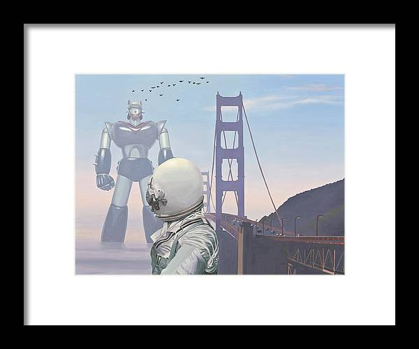Astronaut Framed Print featuring the painting A Very Large Robot by Scott Listfield