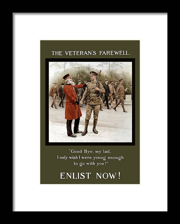 Ww1 Framed Print featuring the painting A Veteran's Farewell - WW1 by War Is Hell Store