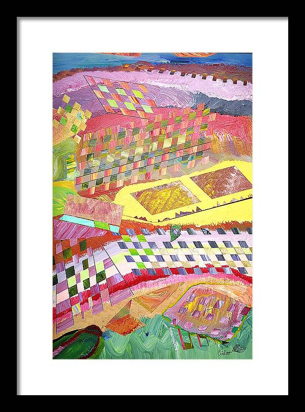Crops Framed Print featuring the painting A View From Above by Eric Devan