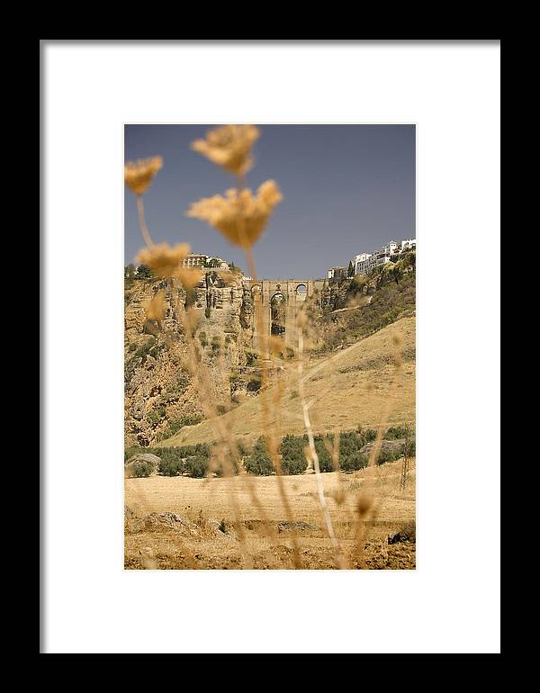 Tajo Framed Print featuring the photograph A View Of The Tajo De Ronda And Puente Nuevo Bridge Serrania De Ronda Andalucia Spain by Mal Bray