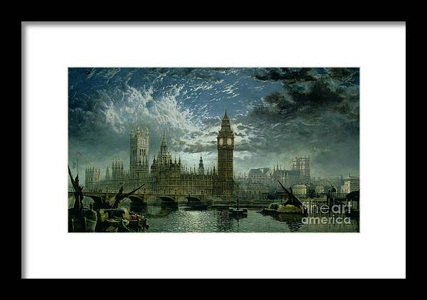 Big Ben;london;thames;river Framed Print featuring the painting A View Of Westminster Abbey And The Houses Of Parliament by John MacVicar Anderson