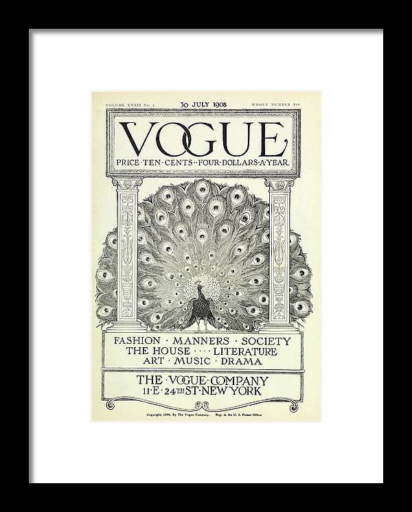 Illustration Framed Print featuring the photograph A Vintage Vogue Magazine Cover by Artist Unknown