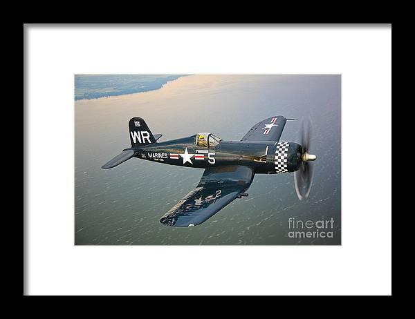 Transportation Framed Print featuring the photograph A Vought F4u-5 Corsair In Flight by Scott Germain