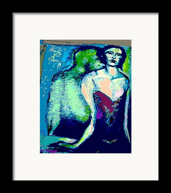 Portrait Framed Print featuring the mixed media A Waiting by Noredin Morgan