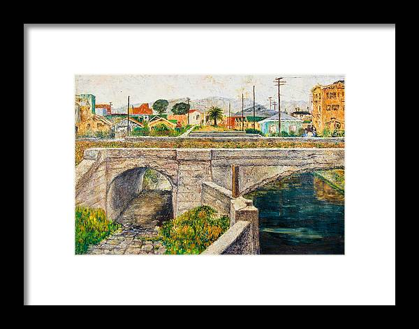 City Framed Print featuring the painting A Walk Along The Canal By Victor Herman by Joni Herman