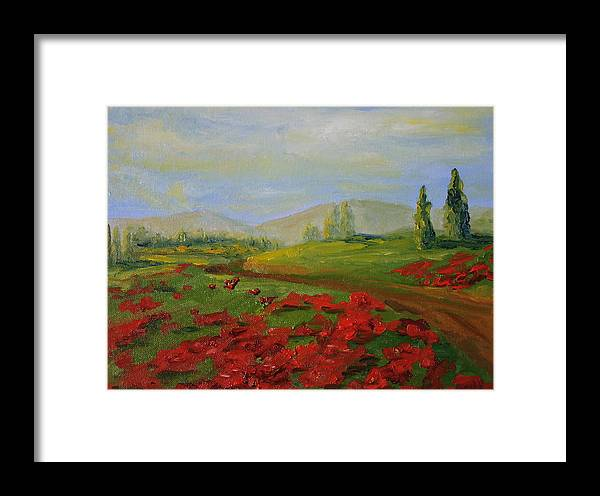 Tuscany Framed Print featuring the painting a walk in Tuscany by Martha Layton Smith