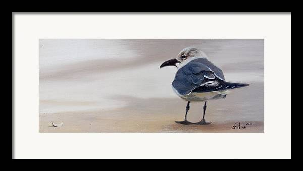 Painting Framed Print featuring the painting A Walk On The Beach by Greg Neal