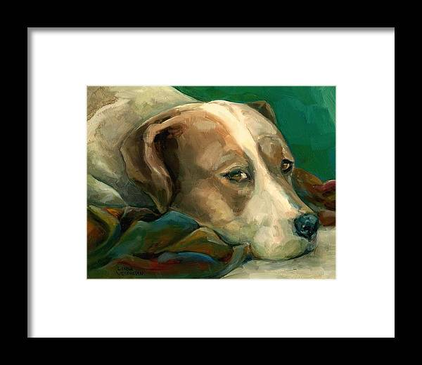 Dog Framed Print featuring the painting A Watchful Eye by Linda Vespasian