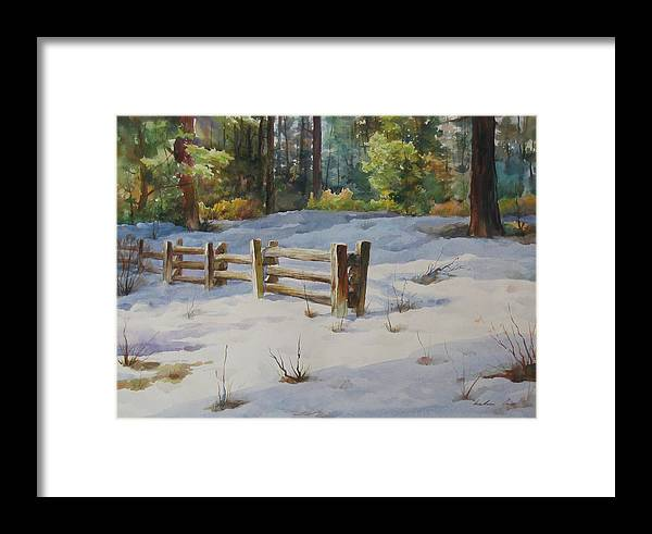 Landscape Framed Print featuring the painting A Winter Morning by Kelvin Lei