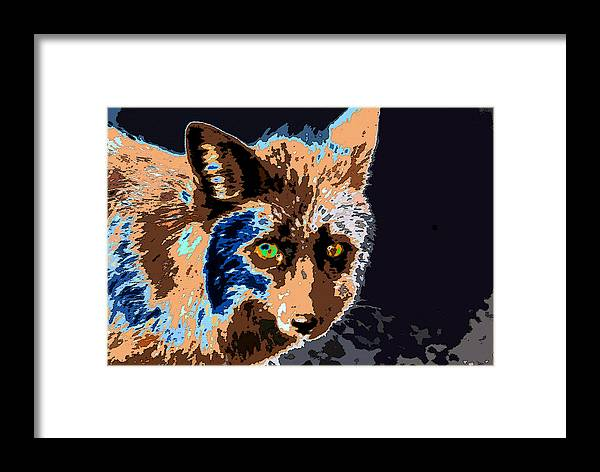 Art Framed Print featuring the painting A Wolf Staring by David Lee Thompson