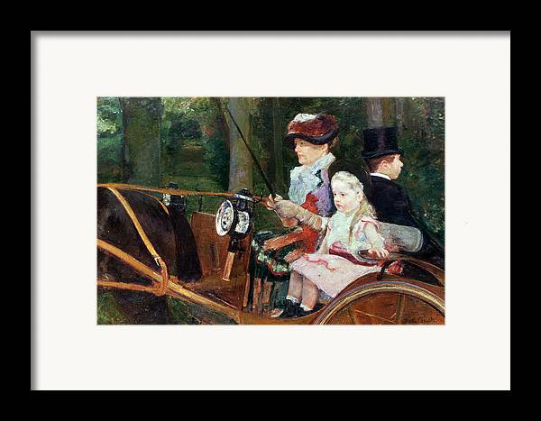 Woman Framed Print featuring the painting A Woman And Child In The Driving Seat by Mary Stevenson Cassatt