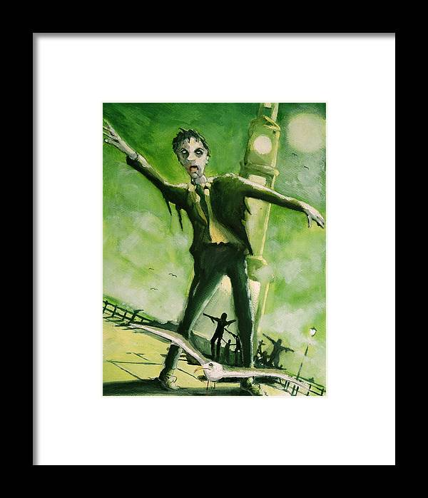 Horror Framed Print featuring the painting A Zombie In Herne Bay by Paul Mitchell