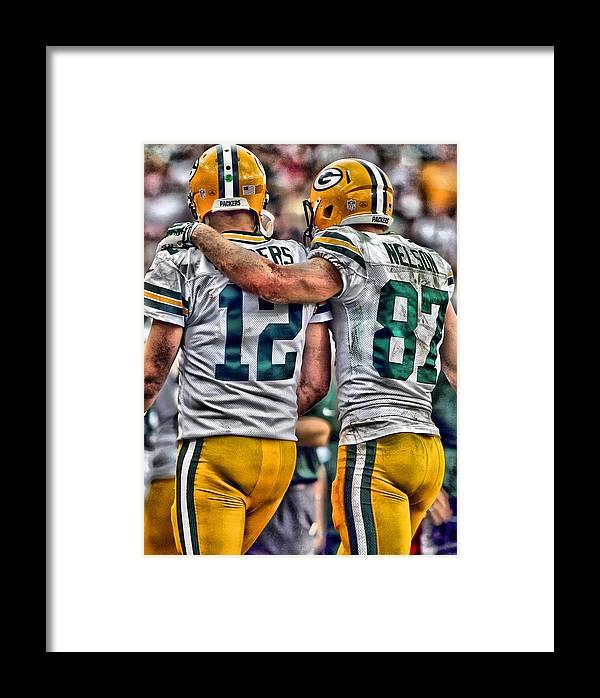 Aaron Rodgers Jordy Nelson Green Bay Packers Art Framed Print by Joe ...