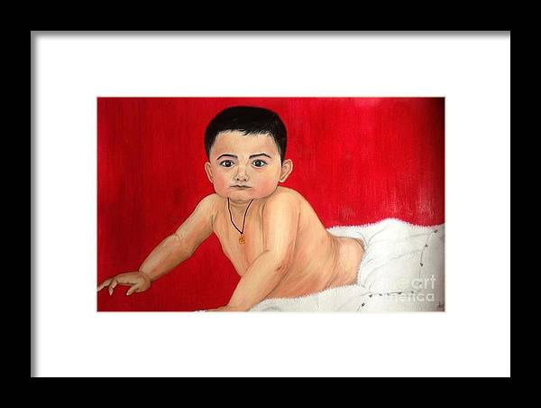 Son Framed Print featuring the painting Aaryan by Ankita Gupta