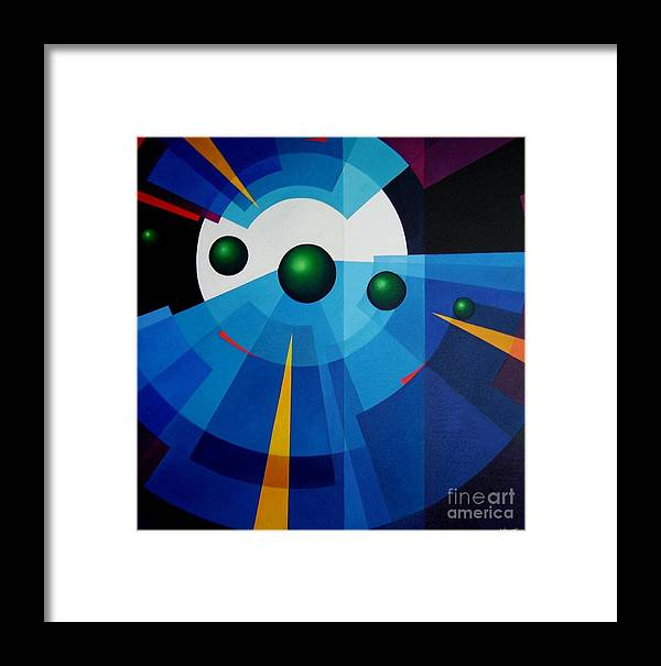 Geometric Abstract Framed Print featuring the painting Ab Oculum by Alberto DAssumpcao