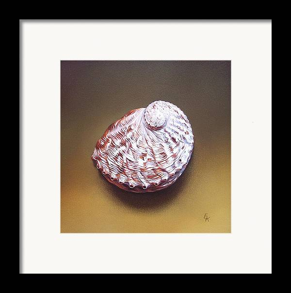 Shell Framed Print featuring the painting Abalone Shell - B by Elena Kolotusha