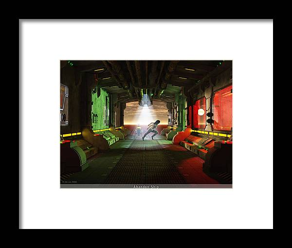 Jim Coe Framed Print featuring the digital art Abandon Ship by Jim Coe