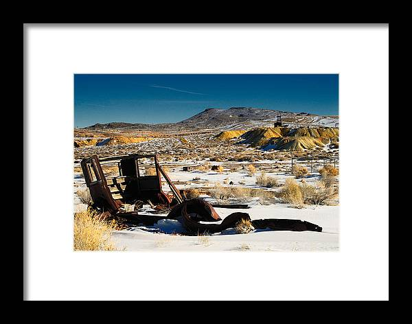 Landscape Framed Print featuring the photograph Abandoned Car Near Goldfield by Werner Rolli