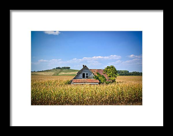 Abandoned Framed Print featuring the photograph Abandoned Corn Field House by Douglas Barnett