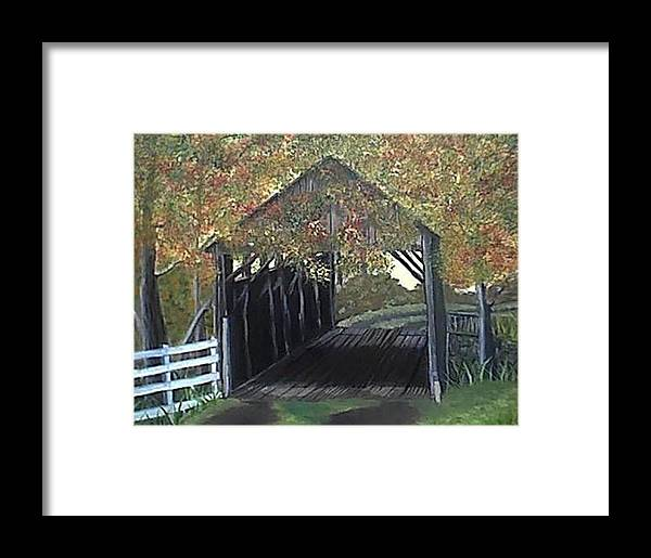 Autum Colors Over A Covered Bridge That Was Abanded In Oregon Framed Print featuring the painting Abandoned Covered Bridge by Mary Kaser