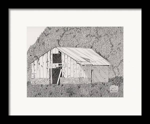 Pen And Ink Framed Print featuring the drawing Abandoned Dairy-oklahoma by Pat Price