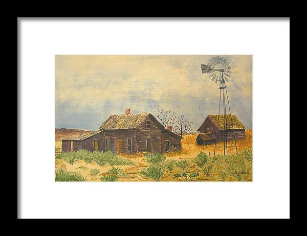 Farm Framed Print featuring the painting Abandoned Farm by Ally Benbrook
