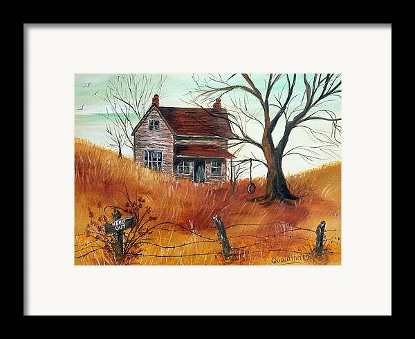 Landscape Framed Print featuring the painting Abandoned Farmhouse by Quwatha Valentine