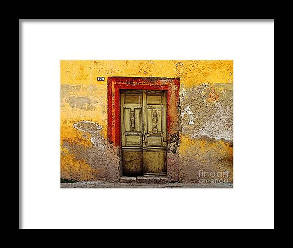 Darian Day Framed Print featuring the photograph Abandoned Green Door 2 by Mexicolors Art Photography