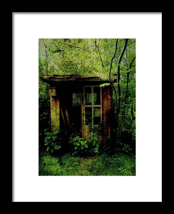 Undergrowth Framed Print featuring the digital art Abandoned Hideaway by Sarah Vernon