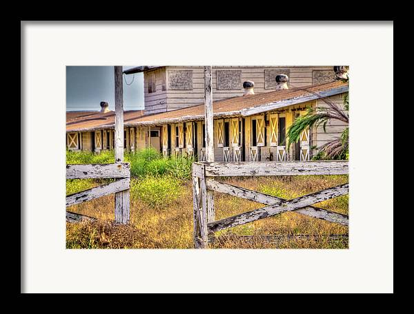 2011 Framed Print featuring the photograph Abandoned Horse Stables by Connie Cooper-Edwards