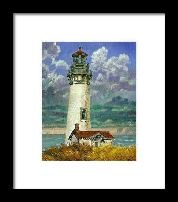 Lighthouse Framed Print featuring the painting Abandoned Lighthouse by John Lautermilch