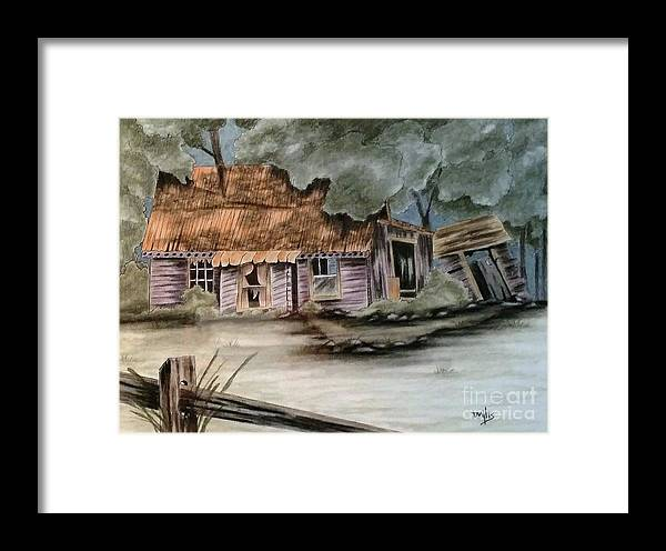 Charcoal Framed Print featuring the drawing Handyman Special by Terri Mills