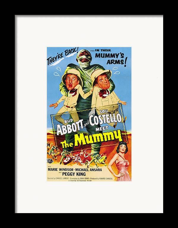 1950s Poster Art Framed Print featuring the photograph Abbott And Costello Meet The Mummy Aka by Everett