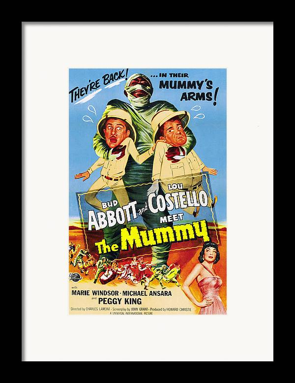 1950s Poster Art Framed Print featuring the photograph Abbott And Costello Meet The Mummy Aka by Everett