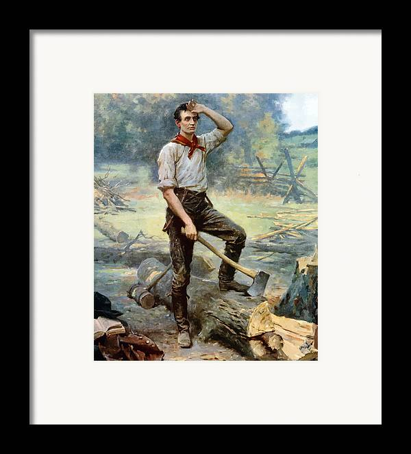 Abraham Lincoln Framed Print featuring the painting Abe Lincoln The Rail Splitter by War Is Hell Store