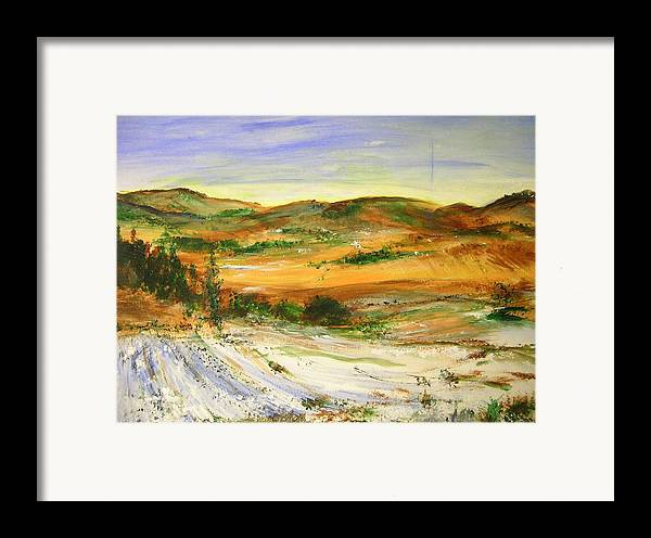 Landscape Framed Print featuring the painting Aberdeen Winter Landscape by Lizzy Forrester