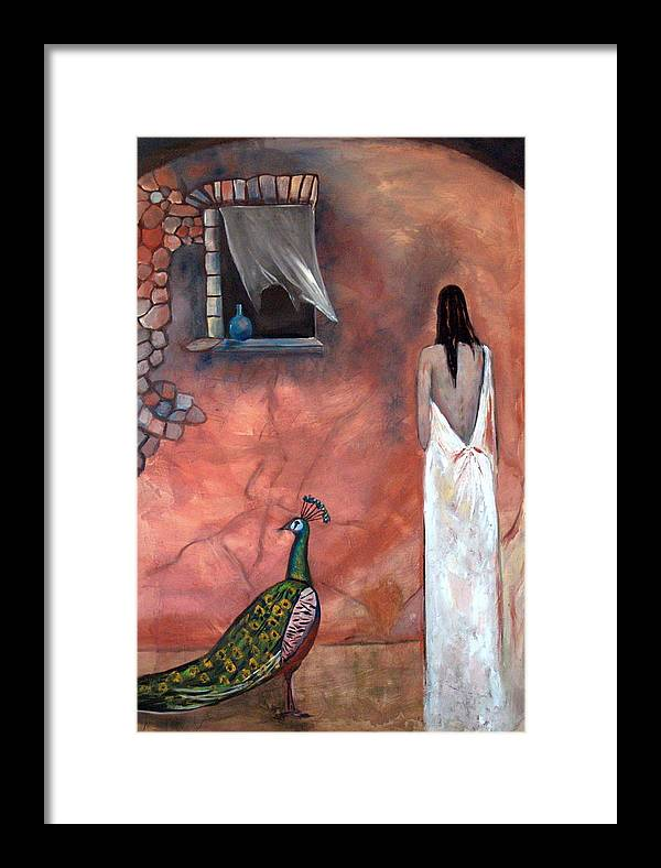 Woman Peacock Window Old Wall Red Orange Framed Print featuring the painting Abeyance by Niki Sands