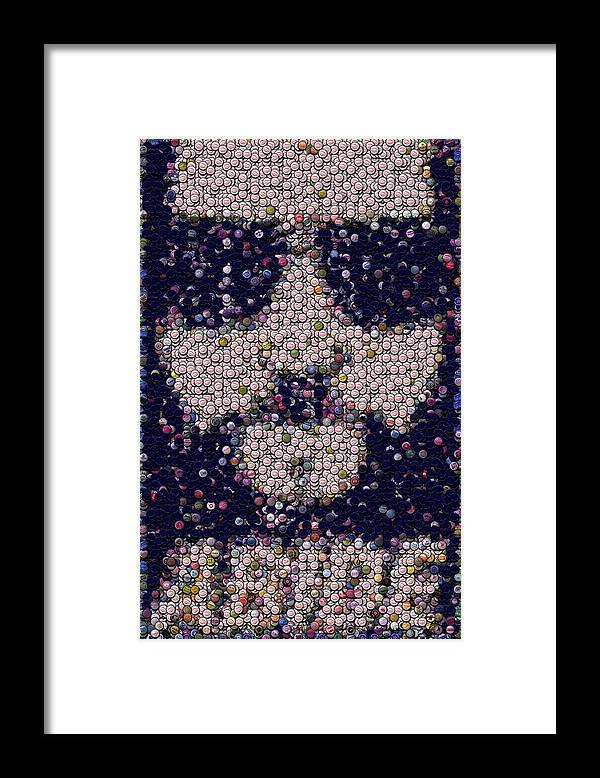 The Big Lebowski Framed Print featuring the mixed media Abide Bottle Cap Mosaic by Paul Van Scott