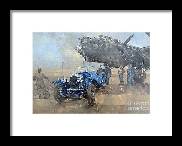 Car; Vehicle; Airplane; Aeroplane; Plane; Military; Air Force; Vintage; Classic Cars; Vintage Car; Nostalgia; Nostalgic; Blue Lagonda Framed Print featuring the painting Able Mable and the Blue Lagonda by Peter Miller