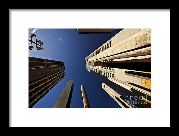 Australian Aboriginal Sound Poles Skyscrapers City Framed Print featuring the photograph Aboriginal Sound Poles by Sheila Smart Fine Art Photography