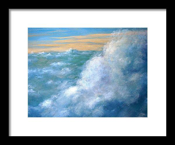 Landscape Framed Print featuring the painting Above The Clouds by Jeannette Ulrich