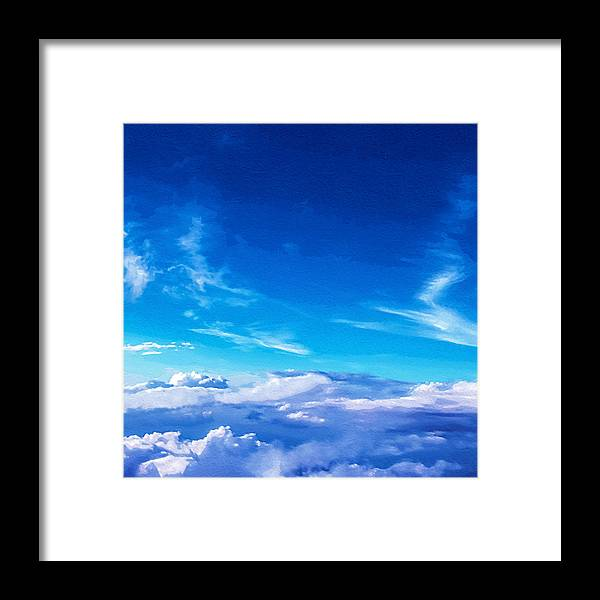 Painting Framed Print featuring the mixed media Above The Clouds Sky Is Always Blue by Mari Biro