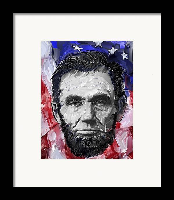 abraham Lincoln Framed Print featuring the digital art Abraham Lincoln - 16th U S President by Daniel Hagerman