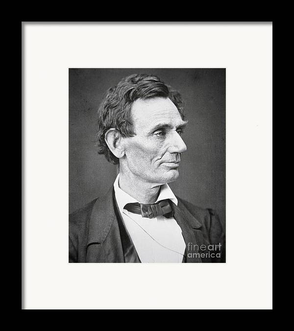 Abraham Lincoln (1809-65) 1860 (b/w Photo) By Alexander Hesler (1823-95) Framed Print featuring the photograph Abraham Lincoln by Alexander Hesler