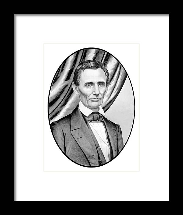 Abraham Lincoln Framed Print featuring the painting Abraham Lincoln Circa 1860 by War Is Hell Store